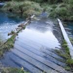 ... leicht überflutete Brücke auf dem Track zum Gertrude Sattel ...